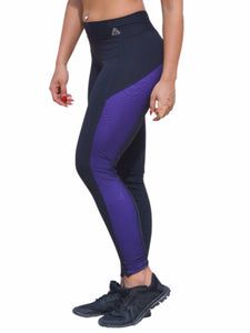 black with purple mesh panels on each side ankle length pants from brazil made with supplex. One Size. Brazilian butt-lift fabric that offers maximum support and ultimate compression.
