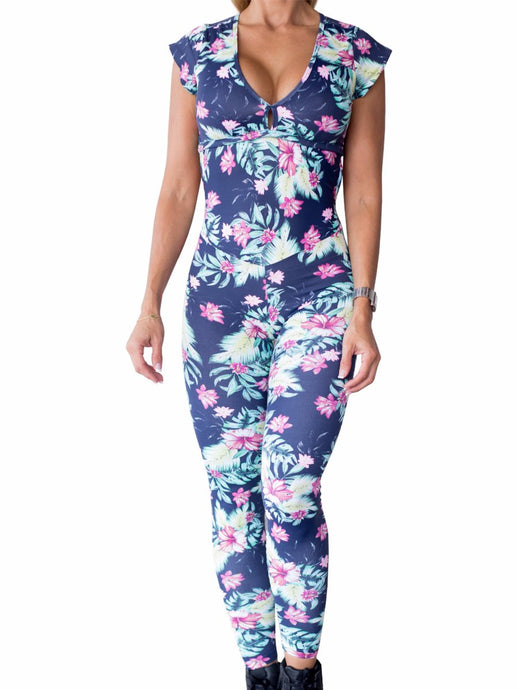 Workout Fall Floral Prints One Piece Jumpsuit