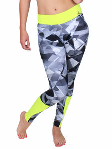Fashion workout wear Kelly glassy white grey black prints full-length pants with under knees side neon details and yellow waist band fits perfect your body very stretchy and comfortable