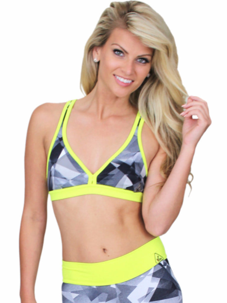 Prints collection Kelly low cut glassy neon top prints black with grey main color yellow neon great compression and support