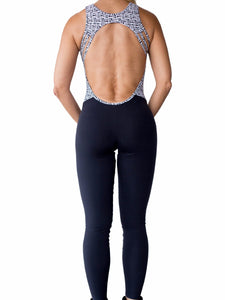 Workout Graphic Prints Open Back Catsuit