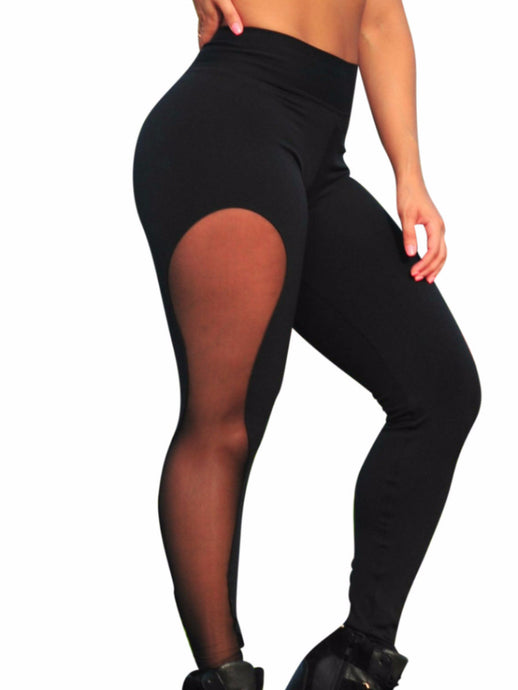 Women's hot side mesh panels details fuso leggings straight long length full leg length pants in black waist-banded fit one size very stretchy