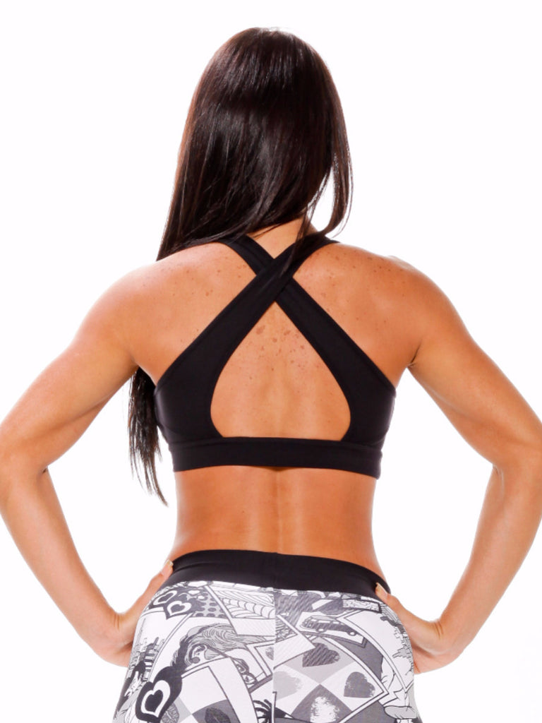 full coverage front open crisscrossing back form fitting sports wear top