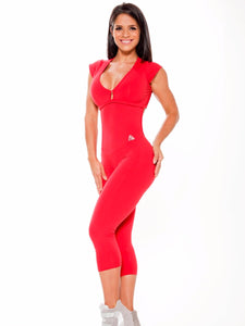 Brazilian Workout Short Sleeves One Piece Jumpsuit