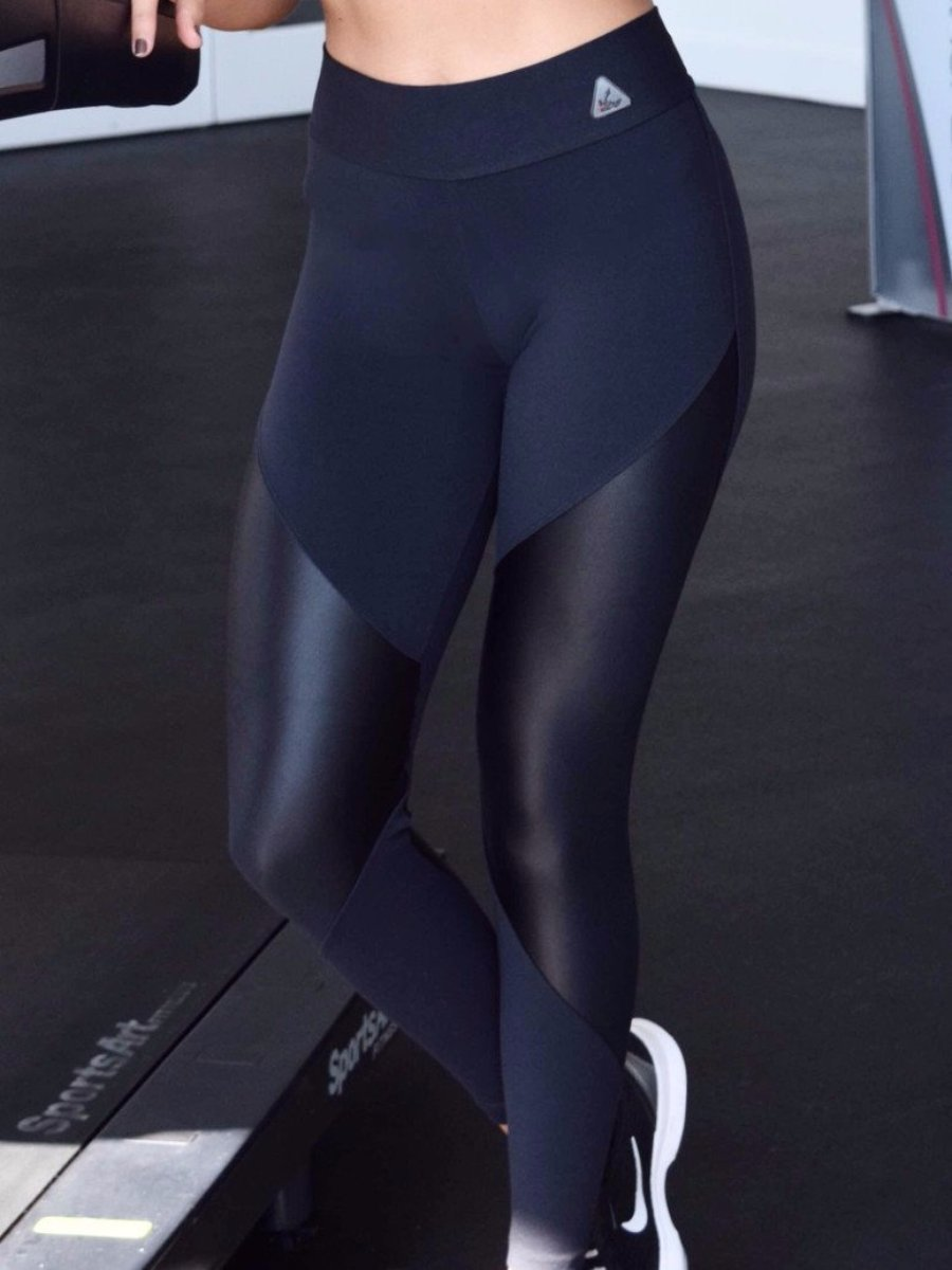 up vibe fitness wear active workout leggings full length black with contrasting shiny cirre panels one size fits most