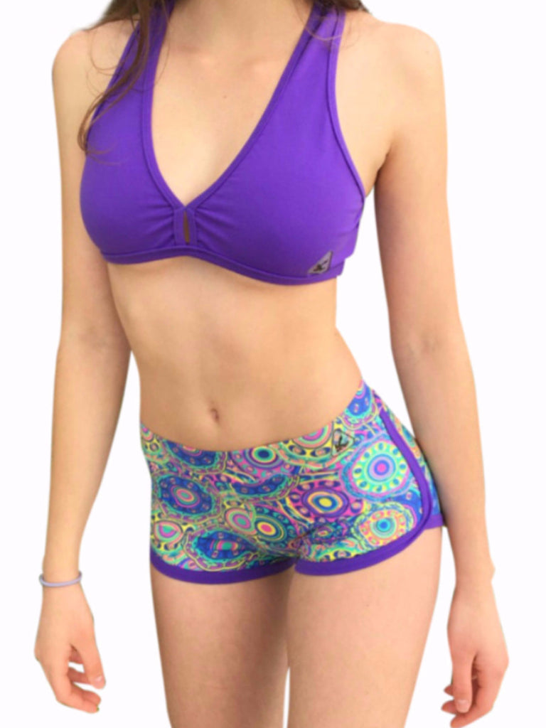 Women's fitness fashion wear low rise short shorts in purple mandala circle prints low waist band stretchy slim fit