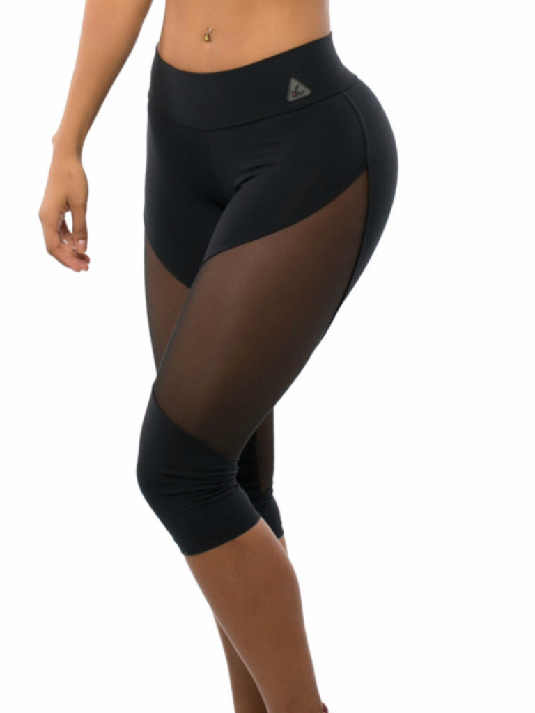 classic black with see through sheer mesh athletic wear capri leggings. Wide waist for maximum support.