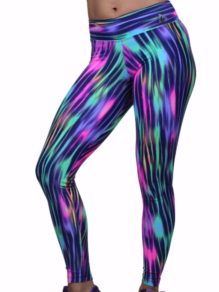 Up Vibe Fitness Wear Fun Vibe Prints Purple Long length yoga pants waist banded stretchy slim fit