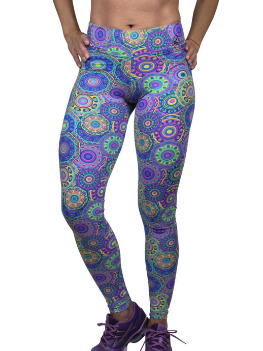stylish and fashionable brazilian ankle full length leggings wide waist mid rise mandala abstract colorful prints light supplex blended with lycra one size fits most