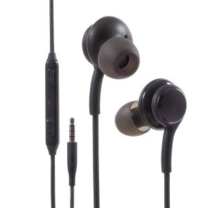 Black AKG Samsung ergonomic bass in-ear headphones with microphone and volume control