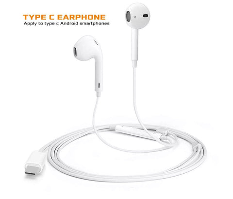 White type c wired earpod earphone headphone microphone