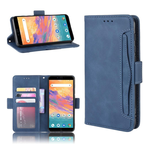 UMIDIGI A3S Wallet Stand Flip Leather Phone Case - Blue