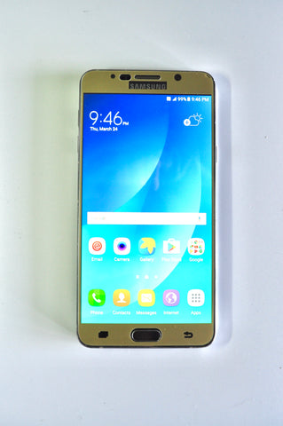 used unlocked 32+gb samsung note 5 with gold tempered glass