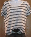 Knit Women Blouse Top Shirt Lace Back Casual Urban Relaxed Fit Stripe Urban Cute