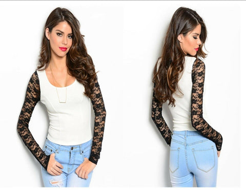 Women Bodycon Slim Stretch Club Wear Top Blouse Shirt Long Sleeves Lace Casual