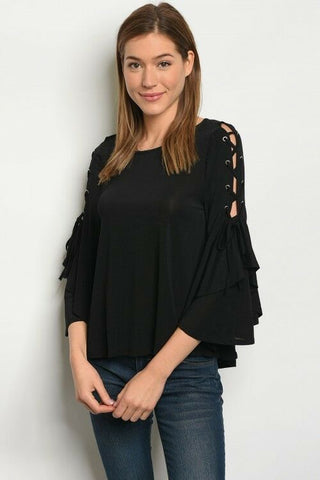 Women Black Stretch Relaxed Fit Lace up Butterfly Wing Sleeve Top Blouse Casual