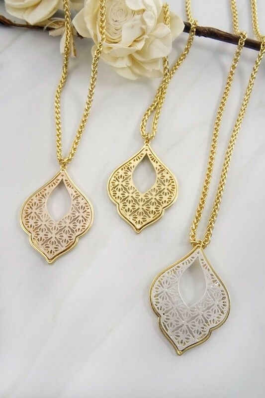 Women's Fashion Jewelry Filigree Rose Gold/Silver Sweater Chain Necklace Vintage