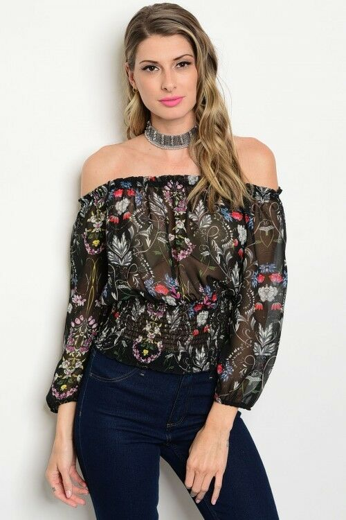 Women Black Floral Cold Off Shoulder Top Blouse Shirt Boho Style Casual Slim
