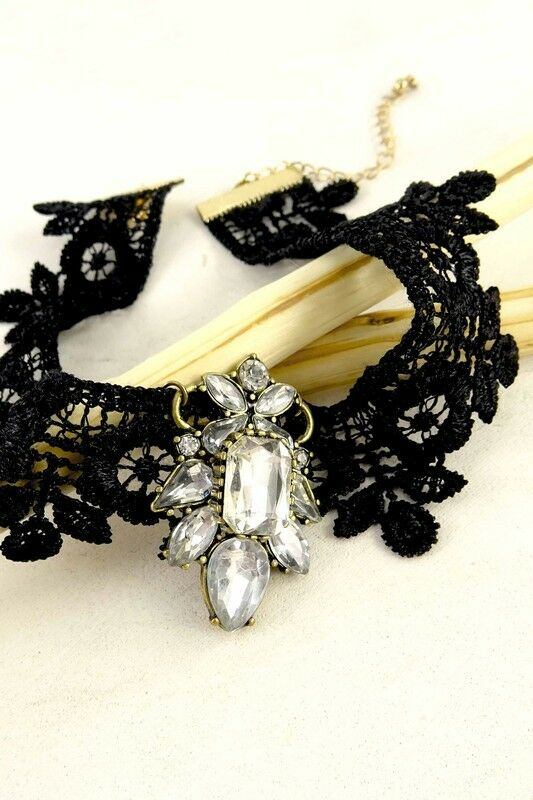 Women Fashion Retro Jewelry Vintage 90's Choker Black Necklace Fabric Rhinestone