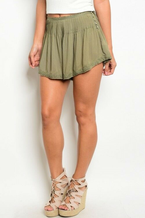 Women Olive Boho Peasant Relaxed Style Shorts Hot Pants Short Shorts Casual Cute