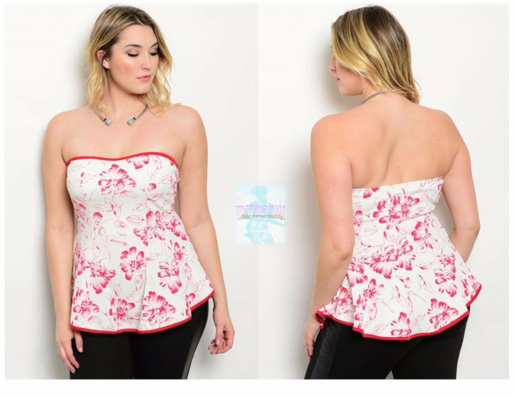 Plus Size Women Dressy Floral Strapless Peplum Top Casual Blouse Slim Summer