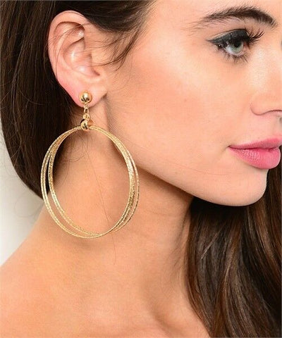 Women Fashion Jewelry Big Multi Hoop Urban Casual Gold Silver Dangle Earrings