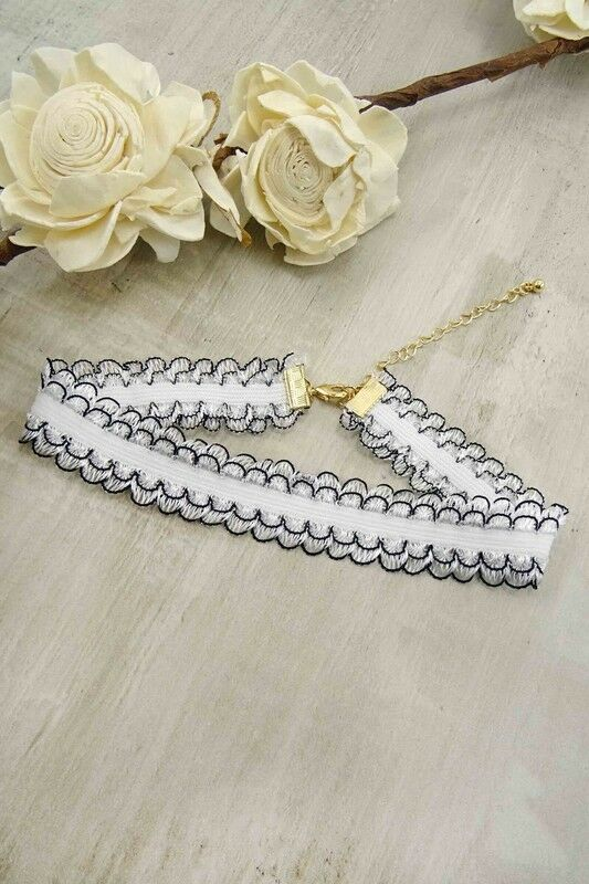 Women's Fashion Jewelry Retro Vintage White Lace Black Trim Choker Necklace Cute