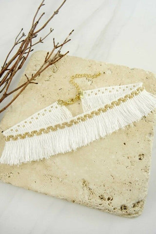 Women Fashion Jewelry Retro Vintage 90's Fringe Gold Glitter Choker White Casual