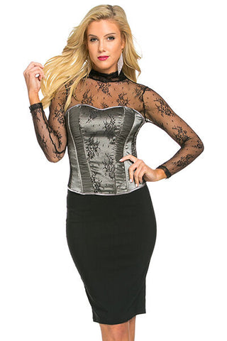 Women Corset Top Slim Fitted Push Up Lace Mock Neck Vest Blouse Clubwear Sexy