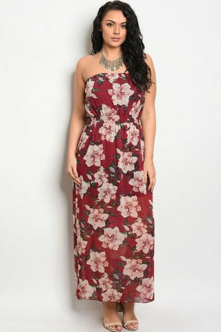 Women Strapless Wine Floral Plus Lined Casual Dress Summer Relaxed Fit Boho Cute