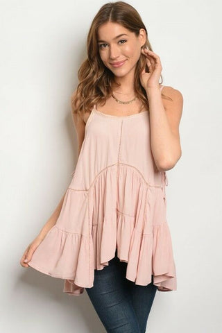 Women Blush Boho Tunic Top Blouse Lace Up Relaxed Fit Spaghetti Strap Ruffle