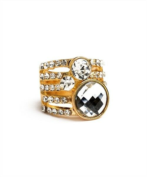 Women Fashion Jewelry Statement Rhinestone Ring Silver Gold Vintage Retro Layer