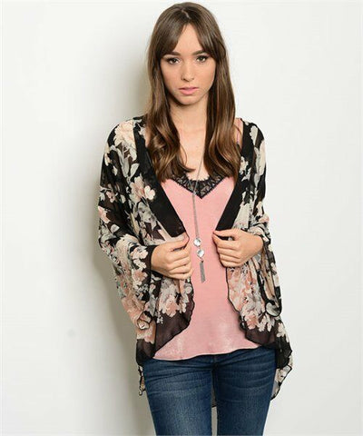 Women Black Floral Kimono Top Blouse Casual Shirt Sweater Crochet Back Cardigan