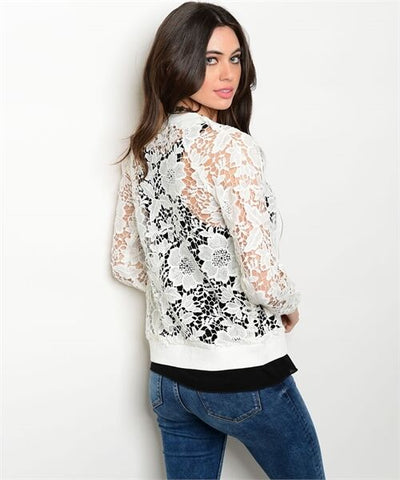 Women Fall Crochet Bomber Jacket Vest Blouse Sweater Casual Moto Coat Relaxed
