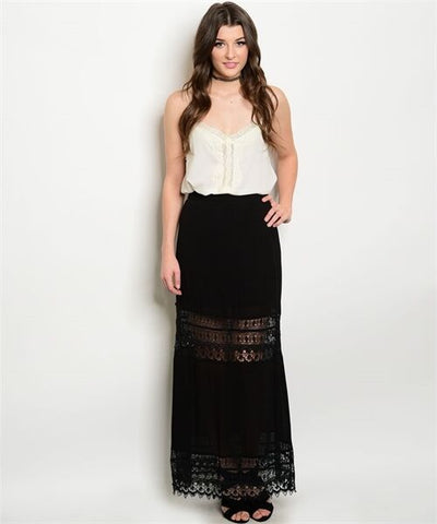 Women Black Boho Maxi Skirt Summer Lace Casual Urban Elastic Waist Relaxed Cute