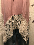 Women Sleeveless Dusty Pink Tunic Top Blouse Sharkbite Lace Hemline Relaxed Fit