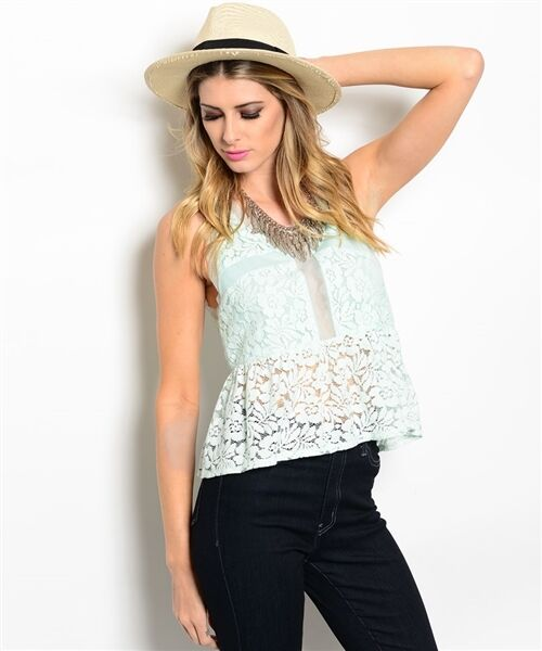 Women Sheer Lace Mint Sleeveless Peplum Top Blouse Shirt Vest Casual Summer Cute
