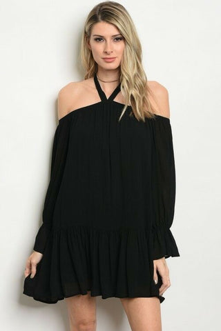 Black Boho Women Halter Off Shoulder Tunic Dress Relaxed Casual Summer Spring