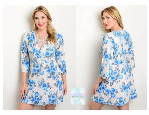 Plus Size Women Dress Casual Floral 3/4 Sleeve Knee Length Stretch Slim Sexy