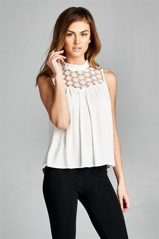 Fashion Women Ivory Sleeveless Top Blouse Mock Neck Crochet Relaxed Casual Vest