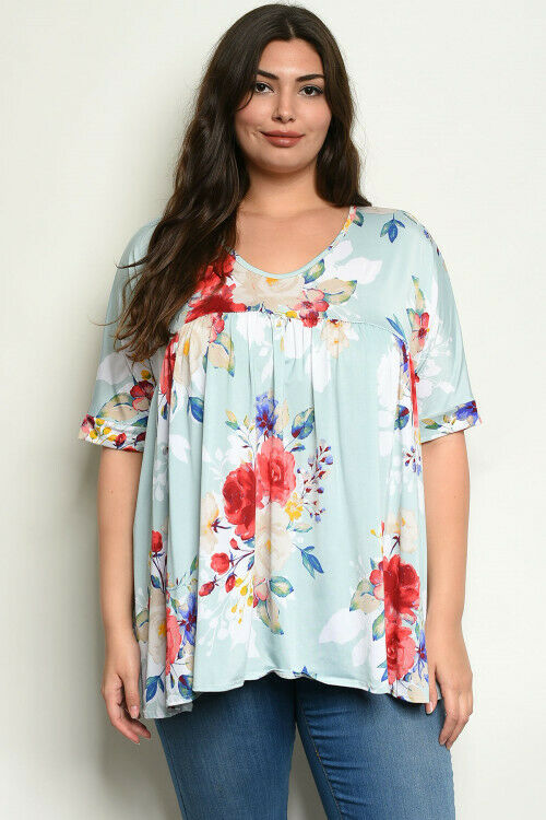 Women Plus Size Short Sleeve Scoop Neck Aqua Floral Tunic Top Blouse Relaxed
