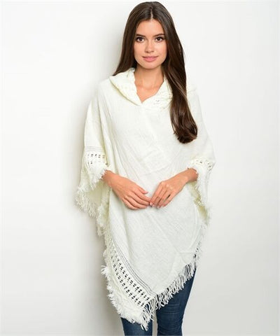 Women Poncho Ivory Soft Fringe Shawl Vest Sweater Wrap Hooded Casual Fall Cute