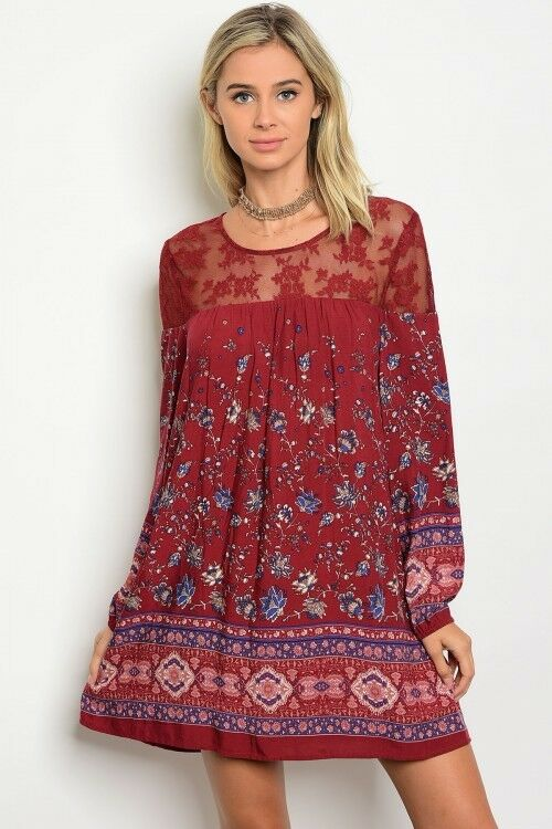 Women Boho Wine Shift Dress Tunic Top Relaxed Fit Long Sleeve Mini Lace Fall