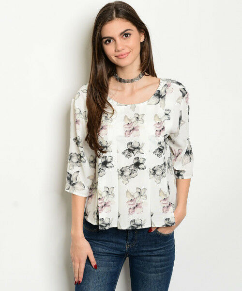 Women Ivory Floral Pin Tuck Swing Top Blouse Shirt Casual 3/4 Sleeve Relaxed