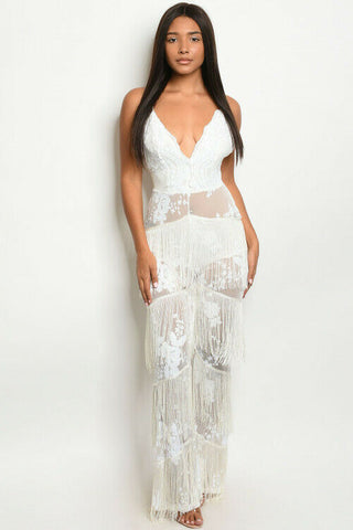 Women White Sequins Fringe Semi Sheer Fitted Jumpsuit Romper Spaghetti Strap