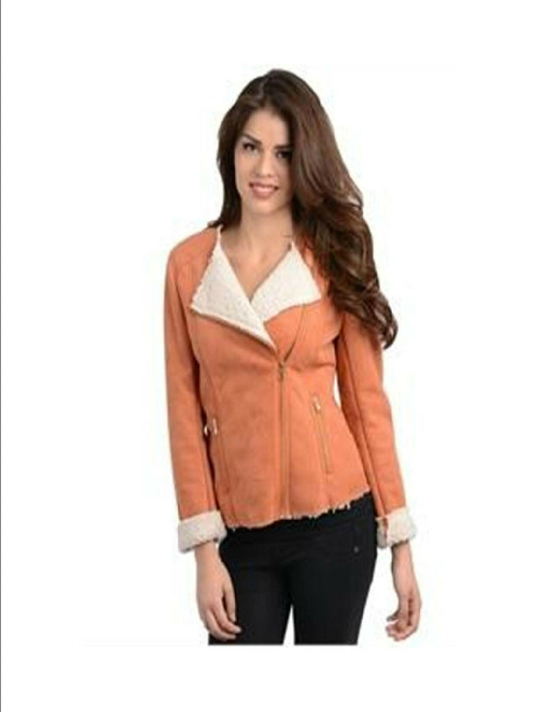 Women Shearling Bomber Jacket Vest Moto Jacket Casual Urban Style Slim Fitted
