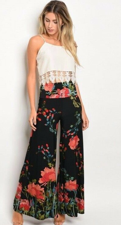 Women Black Floral Wide Leg Stretch Pants Yoga Dressy Trousers Slim Fit Casual