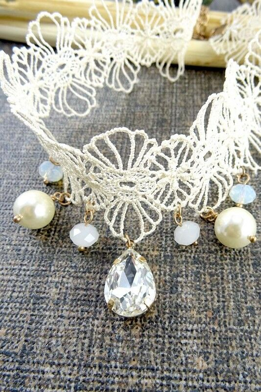 Women Fashion Jewelry Retro Vintage 90's Choker Cream Necklace Pearls Fabric