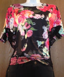 Women's Black Dolman Blouse Top Shirt Stretch Slim Lace Floral Pattern Casual