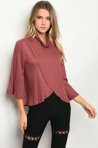 Women Mauve Bell Sleeve Cowl Neck Tulip Front Waffle Knit Blouse Sweater Stretch